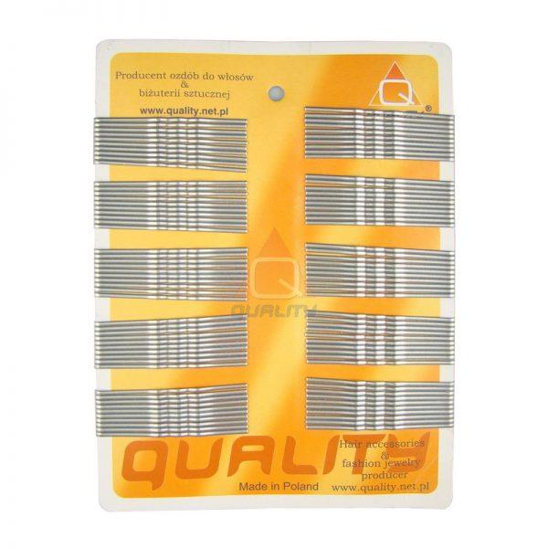 Wsuwki do włosów QUALITY długie kolor srebrny 100szt.