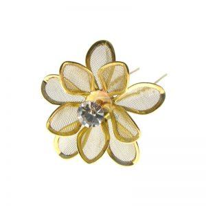 Szpilka złota lilia z cyrkonią