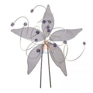 Szpilka niebieski kwiat z krysztłkami