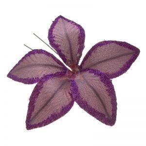 Szpilka fioletowy kwiat z koralikami