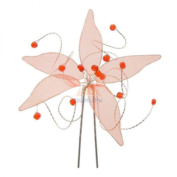 Szpilka czerwona rozgwiazda z koralikami