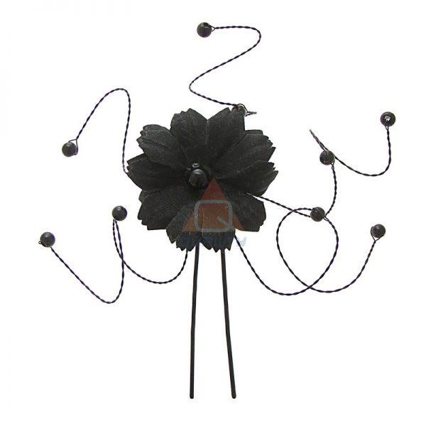 Szpilka czarny kwiat z krysztłkami