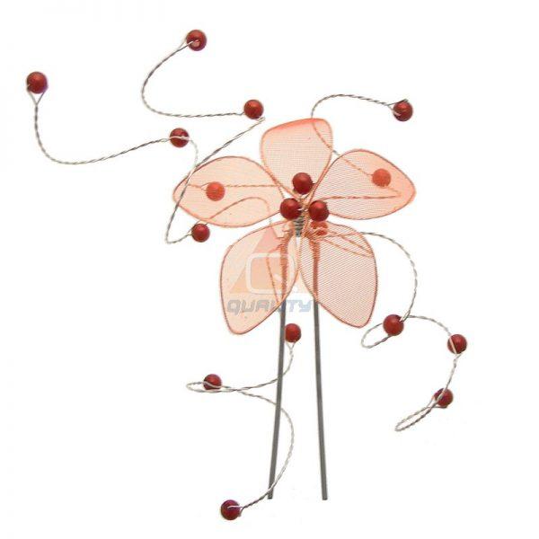 Szpilka czerwony kwiat z koralikami