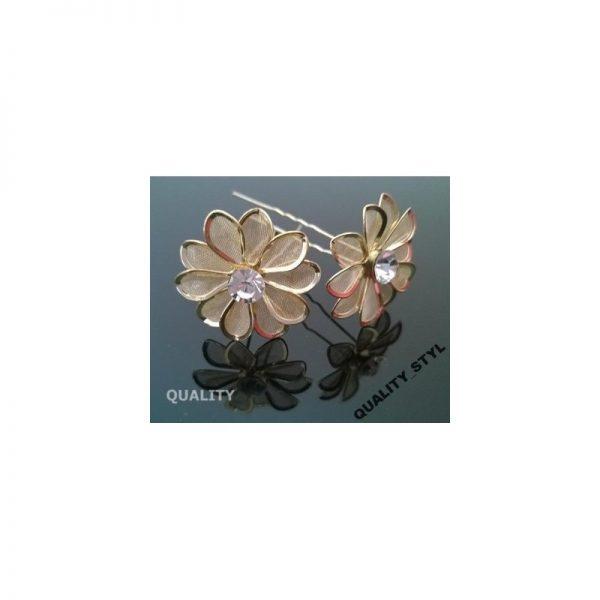 Szpilka złoty kwiatek z cyrkonią
