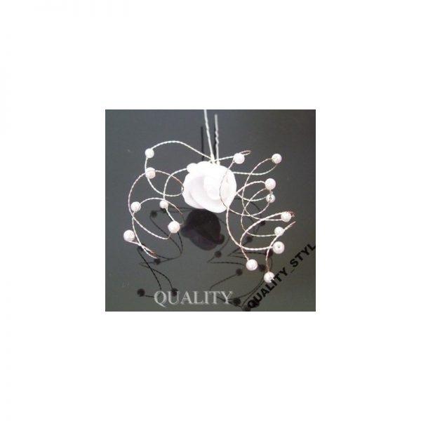 Szpilka ecru kwiat z krysztłkami
