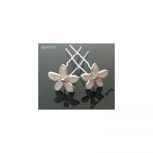 Szpilka ecru kwiat z cyrkonią