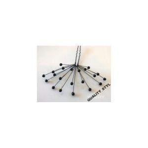 Szpilka czarna perła na czarnym druciku 3D
