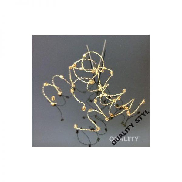 Szpilka złota gałązka sieczka z krysztłkami