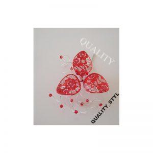 Szpilka czerwony listek z krysztłkami