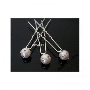 Szpilka biała perła z dżetami