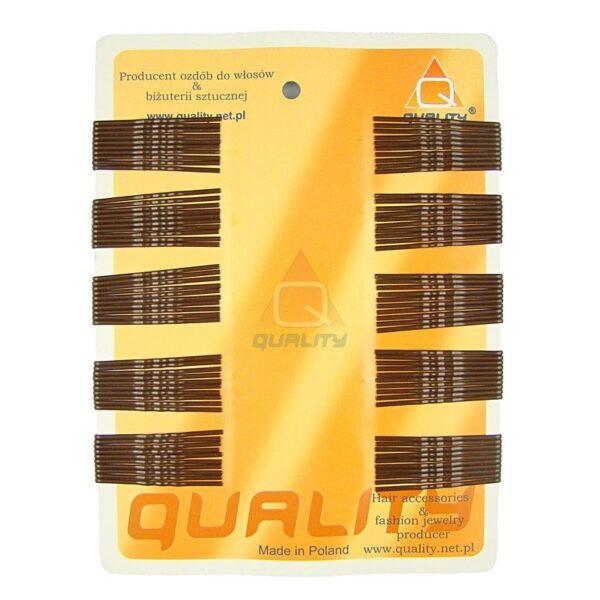 Wsuwki do włosów QUALITY krótkie kolor brązowy 100szt.