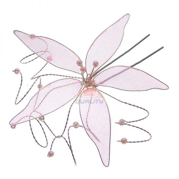 Szpilka kwiat ozdoba do włosów jasny róż