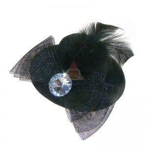 KAPELUSZ - ozdoba do włosów spinka CZARNY
