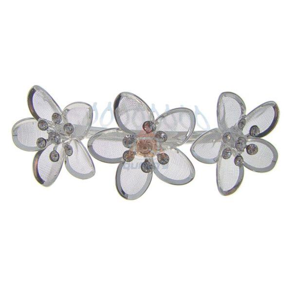 Grzebyk do włosów srebrny kwiat z cyrkonią